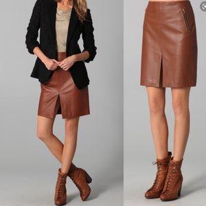 rag&bone chestnut bureau lamb leather skirt
